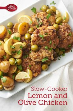 Buttery olives, rich chicken, creamy potatoes in a luscious sauce brightened up with lemon and fresh Slow Cooker Soup, Slow Cooker Recipes, Crockpot Recipes, Chicken Recipes, Cooking Recipes, Delicious Recipes, Tasty, Calories In Vegetables, Slow Cooked Chicken