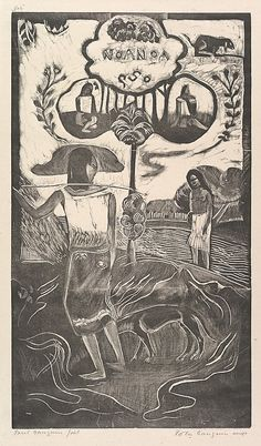 Noa Noa  Paul Gauguin  (French, Paris 1848–1903 Atuona, Hiva Oa, Marquesas Islands)  Date: 1893–94 Medium: Woodcut on china paper Dimensions: 14 x 8 1/16 in. (35.6 x 20.5 cm): block 16 7/8 x 10 1/4 in. (42.9 x 26 cm): paper Classification: Prints Credit Line: Rogers Fund, 1921 Accession Number: 21.38.10