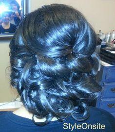 bridal updo, curls side swept bangs, weeding hair, prom, side part, big curls, twists and braids
