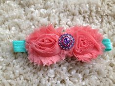 Coral and Aqua Shabby Flower Infant Headband by HannahHeadbands, $7.00