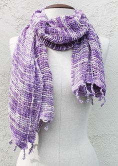 Amethyst One of a Kind Handwoven Cotton Scarf