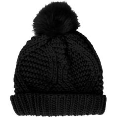 TOPSHOP Fur Pom Cable Beanie ($28) ❤ liked on Polyvore featuring accessories, hats, beanies, gorros, black, black pom pom hat, topshop, beanie hats, black beanie and fur hat