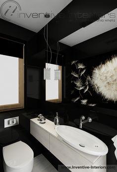 Projekt wc Inventive Interiors - czarna mała łazienka z fototapetą