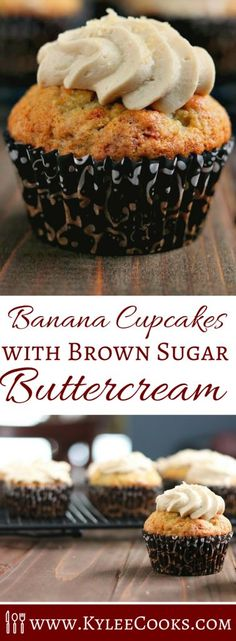 Soft and fluffy banana cupcakes, topped with a gorgeous brown sugar buttercream frosting. These two flavors were MADE for each other!