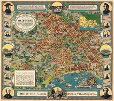 Illustrated map of Melbourne Melbourne map Old city map - $110.00 (AUD)