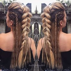 viking braids, blonde hair, with highlights, braid hairstyles for long hair, different braid styles Cute Girls Hairstyles, Box Braids Hairstyles, Hairstyle Ideas, Viking Hairstyles, How To Do Hairstyles, Braided Mohawk Hairstyles, Festival Hairstyles, Hairstyle Braid, Vikings Hair