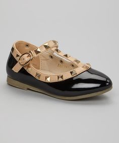 Black Rock Stud Leather T-Strap Leather Mary Jane | zulily