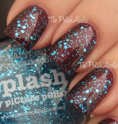 Brown polish, teal glitter.   Love!!