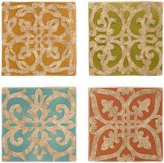 "Mariana Wall Tile Prints set of 4. 9.25"" x 9.25"" per tile print - $67"