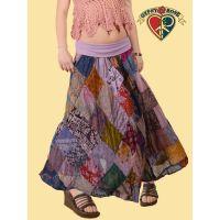 Summer In The City Overdye Cotton Print Diamond Patch Skirt w/ Super Comfy Waistband S/M Petite Length