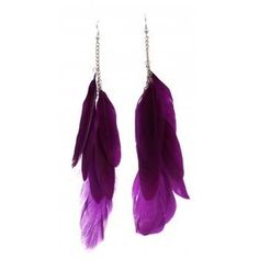 Silver Style Chain And Purple Feather Earrings Purple Earrings, Purple Jewelry, Feather Jewelry, Feather Earrings, Silver Earrings, Silver Jewelry, Chain Earrings, Chain Jewelry, Jewellery