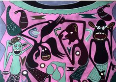 Tanzanian artist George Lilanga, considered an African master and the Picasso of Africa. Lilanga's abstract work speaks of the Makonde culture, merging painting and sculpture to tell stories.
