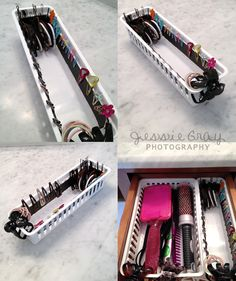 Easy/cheap way to organize barretts/bobby pins with magnetic strips. Glue magnetic strips (craft store) to cheap drawer trays (Walmart). No more barretts tangled in your pony tail holders! You could also use those cheap craft organizers with the dividers (Usually used for thread, cross stitching, buttons) has a lid so nothing falls out. I prefer the trays since its a bit quicker to get what you need. Use the round magnets for heavier items.