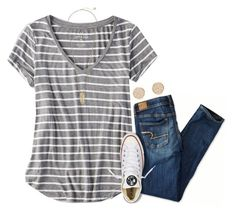 """""""{watching survivor}"""" by preppy-southern-girl-1-2-3 ❤ liked on Polyvore featuring American Eagle Outfitters, Converse, Kendra Scott and Gorjana"""