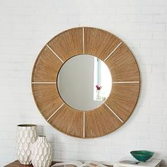"$200 36""diam. x 1.75""d. Jute-Wrapped Round Wall Mirror #westelm"