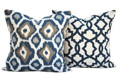 2 high quality pillow covers, , cushion, decorative throw pillow, Medallion pillow, accent pillow, pillow case, Navy Pillow, Ikat Pillow by ThatDutchGirlHome on Etsy