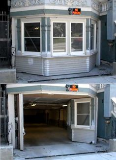 Secret entrance to garage. This is pretty neat. Never saw this before. It looks like just a regular part of the house.
