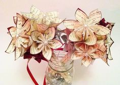 Sheet Music Wedding Bouquet 7 inch,10 paper flowers,origami,bridesmaid