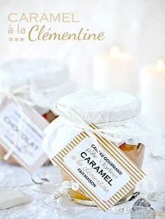 Sauce caramel à la clémentine – Pâte à tartiner au chocolat au lait & thym ... Jar Gifts, Food Gifts, Sauce Caramel, Cookie Do, Sweet Sauce, Edible Gifts, Cookies Policy, What To Cook, Creme