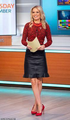 Charlotte Hawkins sends pulses racing in VERY racy leather mini skirt Girl Celebrities, Celebs, Charlotte Hawkins, Girls In Mini Skirts, Black Leather Skirts, Latex Dress, Tv Presenters, Sexy High Heels, Rock