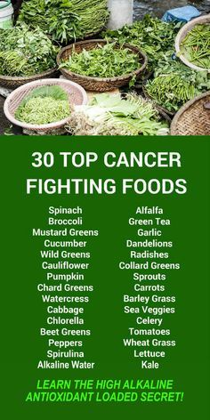 30 Top Cancer Fighting Foods. Learn about alkaline rich Kangen Water®; the hydrogen rich, antioxidant loaded, ionized water that neutralizes free radicals that cause oxidative stress which can lead to a variety of health issues including disease such as c