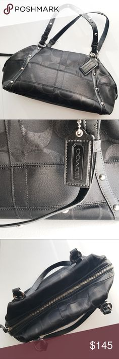 COACH BLACK STUDDED HANDBAG COACH BLACK STUDDED HANDBAG. Dust bag included. No flaws. Gorgeous ocean misty blue interior. Side flaps button and secure for a more compact look, unbutton to gain more space for essentials. Leather lining on front and back where silver studs are accenting the handbag. Leather handles as well as top zipper. Main bag is nylon material.  One large zipper pocket inside as well as additional interior side pockets. All silver accents. 12in. L by 6in W Coach Bags Mini…