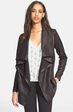 The Kooples Drape Neck Coated Knit Jacket | Nordstrom