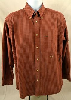 Tommy Hilfiger Mens Size Medium Long Sleeve 100% Cotton Plaid Shirt #TommyHilfiger #ButtonFront