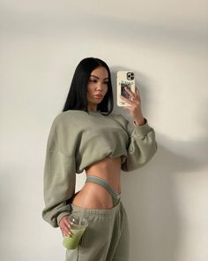 Follow our Pinterest Zaza_muse for more similar pictures :) Instagram: @zaza.muse | Style inspiration. Women's fashion. Home outfits. Green sweat set.