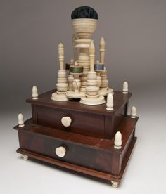 Sewing Stand - Sailor Made Whale Ivory and Wood Sewing Stand | Rafael Osona Auctions Nantucket, MA