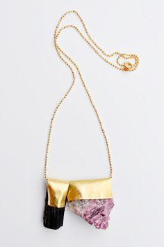 new / black + pink tourmaline necklace