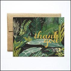 Foil palms green thank you card - Ferme à Papier Thank You Gifts, Thank You Cards, Business Cat, Green Paper, Kraft Envelopes, Paper Design, Paper Goods, Your Cards, Stationery