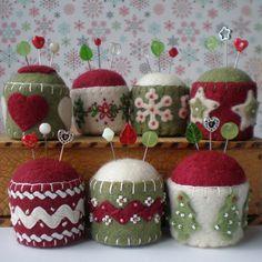 Festive bottle cap pincushions