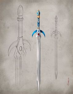 Weapon concept artwork award-winning illustrator Mark Evans created for Games Workshop's fantasy game Warhammer Online. Fantasy Sword, Fantasy Armor, Fantasy Weapons, Medieval Fantasy, Sword Design, High Elf, Anime Weapons, Dungeons And Dragons Homebrew, Weapon Concept Art