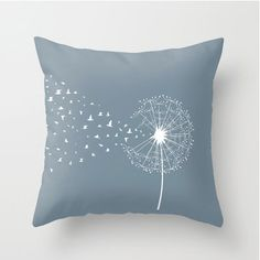 Dandelion and birds decorative throw pillows by MonochromeStudio, $35.00