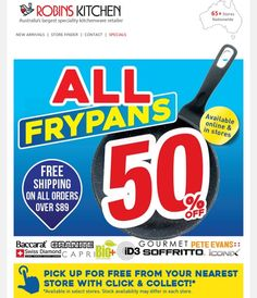 A great deal from Robins Kitchen: #halfprice off ALL frypans #onsale instore or online @robinskitchenau . . . . #frypan #homecooking #inthekitchen #homechef #robinskitchen #greatdeal #whypaymore #qualityforless #smartshopper #savvysaver #jul16