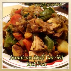 """New recipe on The """"V"""" Word: Jamaican (Ital) Curried Jackfruit with Chickpeas. This is comfort in a bowl - spicy, slightly sweet and totally delicious. Vegan and gluten-free. Jamaican Recipes, New Recipes, Vegetarian Recipes, Cooking Recipes, Healthy Recipes, Entree Recipes, Healthy Meals, Dessert Recipes, Favorite Recipes"""