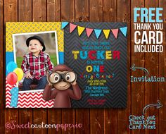 Curious George Invitation, Curious George Photo Invitation, Curious George Birthday Party Invitation, Monkey Invitation, FREE Thank You Card