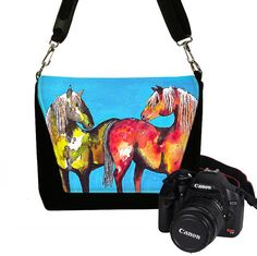 Digital SLR Camera Bag for Women Camera Bag Purse Horses Zipper Padded  -  Deluxe Painted Ponies Clara Nilles cute turquoise (RTS) on Etsy, $89.99