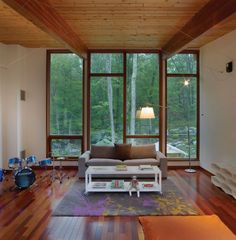 Oak House Design with Indoor Swimming Pool: Pretty Hudson Valley Country House Interior In Entertaint Room Design With Grey Fabric Sofa And . Wood Windows, House Windows, Grey Windows, Big Windows, Hudson Valley, Interior Architecture, Interior Design, Country House Interior, House Goals