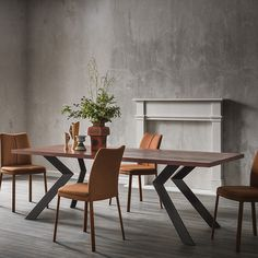 With darting lines and an oak top, this table makes a statement.