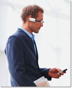 Man with Vuzix M100 Smart Glasses
