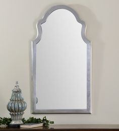 Uttermost Brayden Silver Mirror. Frame has a lightly antiqued, silver leaf finish.