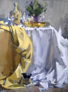 Jug & Violets Maggie Siner 24x32 inches oil on linen #abstract #finedining…