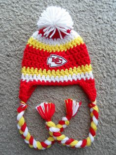 Kansas City Chiefs Football Hat w/Ear Flaps, Braids and Pom Pom: Sizes…