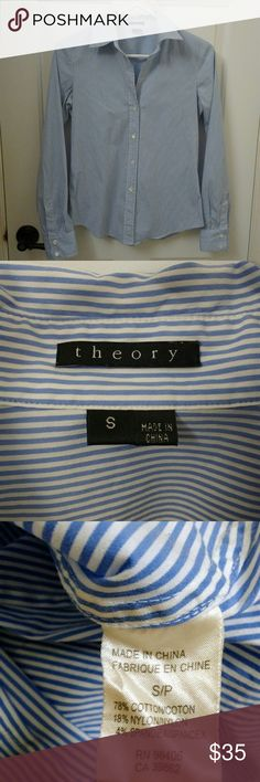 "THEORY Button Down Career Shirt Larissa Stripe THEORY Button Down Career Shirt?  Blue and White Stripe Cotton Stretch Long Sleeve Small  A devoted and classic staple piece for any woman's wardrobe  Theory's unparalleled?fit, cut and style will delight you!  78% Cotton, 18% Nylon, 4% Spandex is soft and has some stretch for the best fit  Women's?Size Small?  Measurements laying flat: 18"" chest (armpit to armpit) 24"" length 19"" sleeve (armpit to cuff)  Well cared-for with no flaws. ?Smoke-free…"