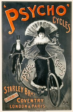 Six sizes from $29 TITLE: Psycho Cycles  ARTIST: G. Moore CIRCA: 1898 ORIGIN: England  Fine art giclee print on heavy acid free archival paper using 100+ year fade resistant inks.