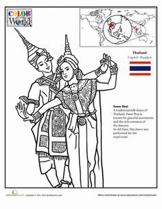 Second Grade Fourth Grade Geography Places Worksheets: Color the World: Thailand