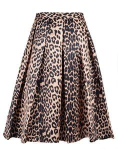 Leopard Print Silky Midi Skater Skirt