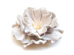 White leather flower brooch by katrinshine on Etsy, $30.00
